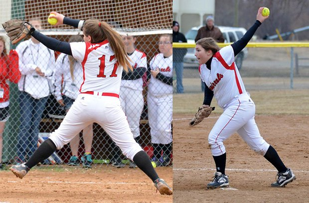 Notice a difference? These pictures of Sierra Amundson are taken from the same angle, the left in 2013 and the right this year. Amundson has learned to pitch left-handed after going through Tommy John Surgery on her right elbow last August.