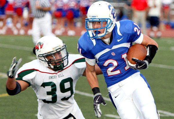 Cherry Creek's Conner Roach (21) tries to make a play this past season. Football is excluded from the CHSAA's proposed cuts.