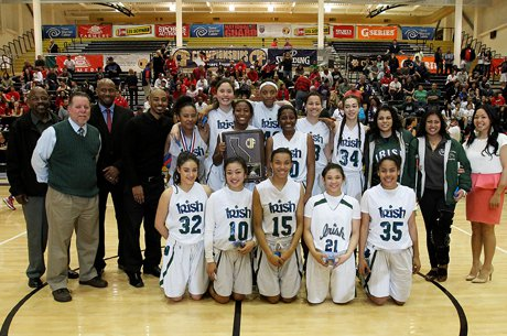 Sacred Heart Cathedral girls pose after winning the 2013 CIF Northern California Division III title at American Canyon High School.