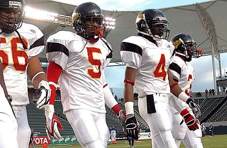 Jeron Johnson (5) and Richard Sherman (4) were two of Southern California's top stars for Dominguez (Compton) High School in 2005. On Sunday, they'll suit up for the Seattle Seahawks in a NFC Conference semifinal game at Atlanta.
