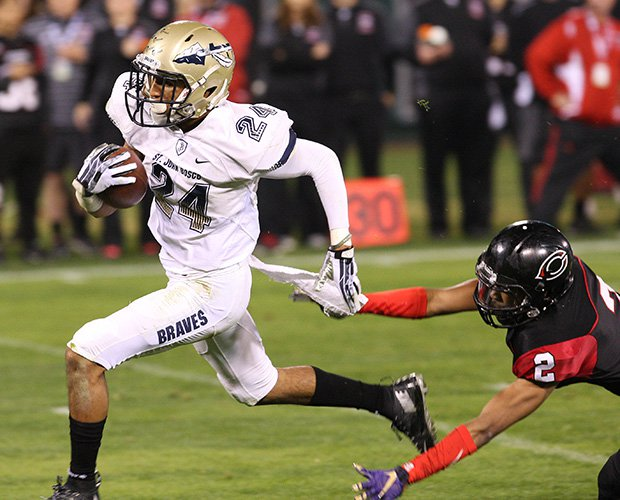 Devin Fleming breaks free for one of his two receiving touchdowns for St. John Bosco.