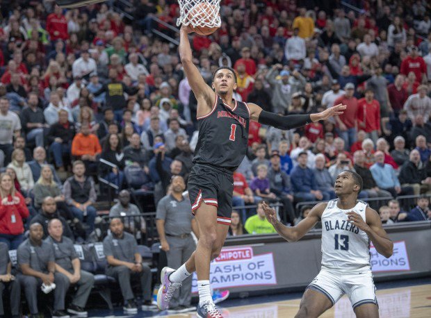 Jalen Suggs soars for a dunk during his senior year at Minnehaha Academy.