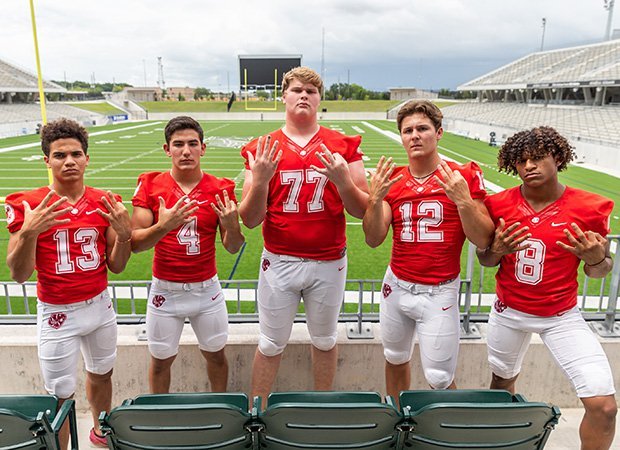 Katy players (left to right) Jordan Patrick, Kaden Gonzales, Cole Birmingham, Bronson McClelland and Jianni Angulo are hoping to add a ninth state championship to their school's trophy case.