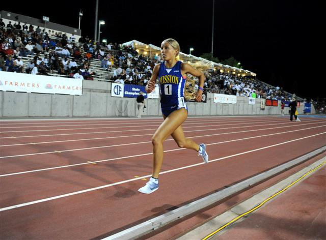 Like most of her races, in her final 3,200, Hasay was a blur running by herself.
