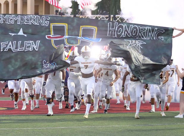 Saguaro takes the field at last week's Honor Bowl at Cathedral Catholic in San Diego.