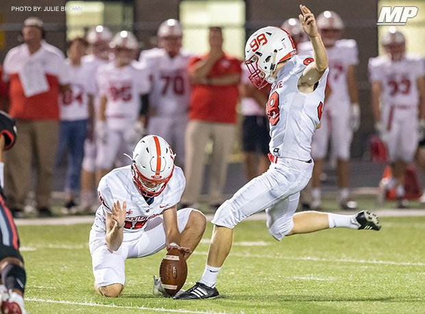 Center Grove (Greenwood, Ind.) kicker Austin Watson hit three field goals last week. He has made 13 on the season.