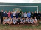 Manitou Springs Mustangs Girls Varsity Soccer Spring 18-19 team photo.