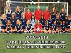 Lake Brantley Patriots Girls Varsity Soccer Winter 18-19 team photo.