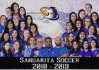 Sahuarita Mustangs Girls Varsity Soccer Winter 18-19 team photo.