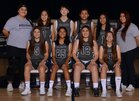 Aquinas Falcons Girls JV Basketball Winter 17-18 team photo.