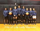 City of Life Christian Academy Warriors Girls Varsity Basketball Winter 17-18 team photo.