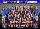 Carbon Dinos Girls Varsity Basketball Winter 17-18 team photo.