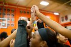 Oakland Mills Scorpions Girls Varsity Basketball Winter 17-18 team photo.