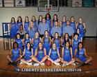 Liberty Blue Jays Girls Varsity Basketball Winter 17-18 team photo.