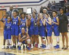 Clayton Comets Girls Varsity Basketball Winter 17-18 team photo.
