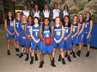 Rampart Rams Girls Varsity Basketball Winter 17-18 team photo.