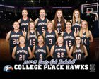 College Place Hawks Girls Varsity Basketball Winter 17-18 team photo.