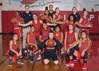 Franklin Pierce Cardinals Girls Varsity Basketball Winter 17-18 team photo.