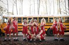 Atkins Red Devils Girls Varsity Basketball Winter 17-18 team photo.