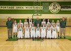 Portage Mustangs Girls Varsity Basketball Winter 17-18 team photo.