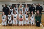 Charlotte Country Day School Buccaneers Girls Varsity Basketball Winter 17-18 team photo.