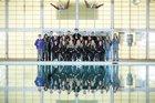 Clovis Wildcats Girls Varsity Swimming Winter 17-18 team photo.
