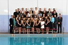 Sandia Matadors Girls Varsity Swimming Winter 17-18 team photo.