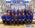 Carlsbad Cavemen Girls Varsity Swimming Winter 17-18 team photo.
