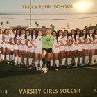 Tracy Bulldogs Girls Varsity Soccer Winter 17-18 team photo.