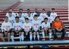McClellan Crimson Lions Boys Varsity Soccer Spring 17-18 team photo.
