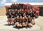 Memorial Mustangs Girls Varsity Volleyball Fall 16-17 team photo.