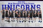 New Braunfels Unicorns Boys Varsity Basketball Winter 16-17 team photo.