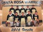 Santa Rosa Warriors Boys Varsity Basketball Winter 16-17 team photo.