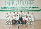 Albuquerque Bulldogs Boys Varsity Basketball Winter 16-17 team photo.