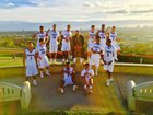 St. Anthony Saints Boys Varsity Basketball Winter 16-17 team photo.