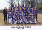 Lonoke Jackrabbits Girls Varsity Softball Spring 17-18 team photo.