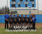 Rialto Knights Girls Varsity Softball Spring 17-18 team photo.