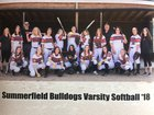 Summerfield Bulldogs Girls Varsity Softball Spring 17-18 team photo.
