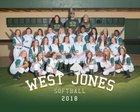 West Jones Mustangs Girls Varsity Softball Spring 17-18 team photo.