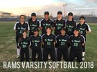 St. Mary's Rams Girls Varsity Softball Spring 17-18 team photo.