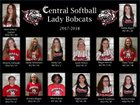 Knoxville Central Bobcats Girls Varsity Softball Spring 17-18 team photo.