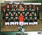 Tampa Catholic Crusaders Boys Varsity Soccer Winter 17-18 team photo.