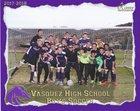 Vasquez Mustangs Boys Varsity Soccer Winter 17-18 team photo.