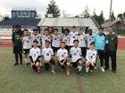 Rodriguez Mustangs Boys Varsity Soccer Winter 17-18 team photo.