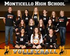 Monticello Buckaroos Girls Varsity Volleyball Fall 17-18 team photo.