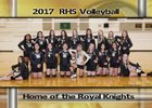 Royal Knights Girls Varsity Volleyball Fall 17-18 team photo.