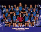 Pickens Blue Flame Girls Varsity Volleyball Fall 17-18 team photo.