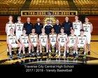 Traverse City Central Trojans Boys Varsity Basketball Winter 17-18 team photo.