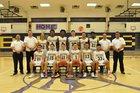 Burges Mustangs Boys Varsity Basketball Winter 17-18 team photo.