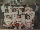 Albion Purple Eagles Boys Varsity Basketball Winter 17-18 team photo.